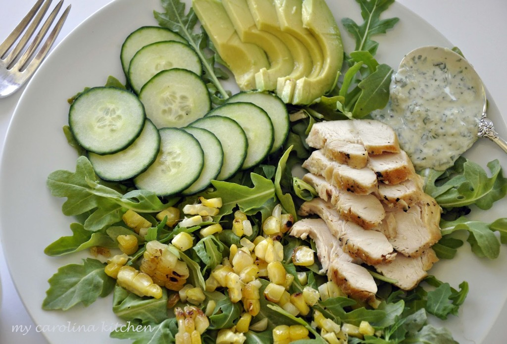 Green on green salad with corn 014